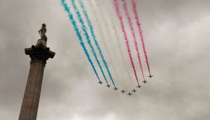 red arrows over trafalgar
